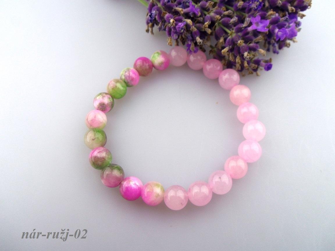 20ee0b393 ruženín a jadeit náramok ružová dúha
